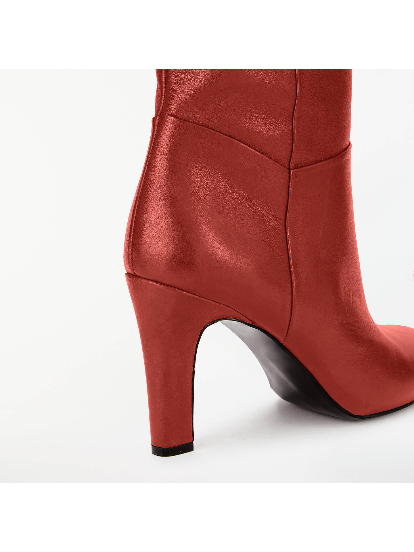 Buy John Lewis & Partners Sienna Knee High Slouch Boots, Red Leather, 3 Online at johnlewis.com