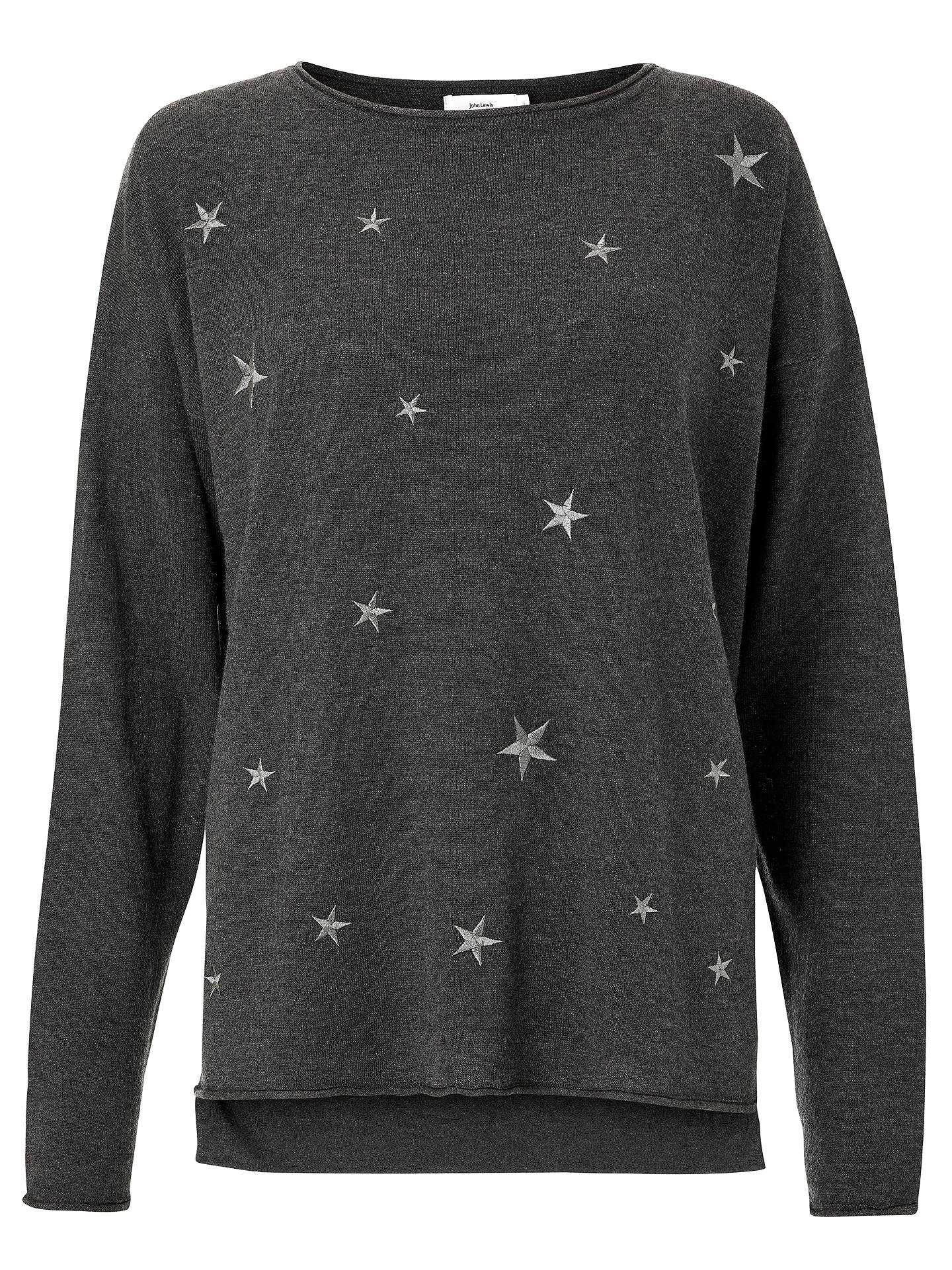 BuyJohn Lewis & Partners Star Embroidered Lounge Top, Grey, S Online at johnlewis.com