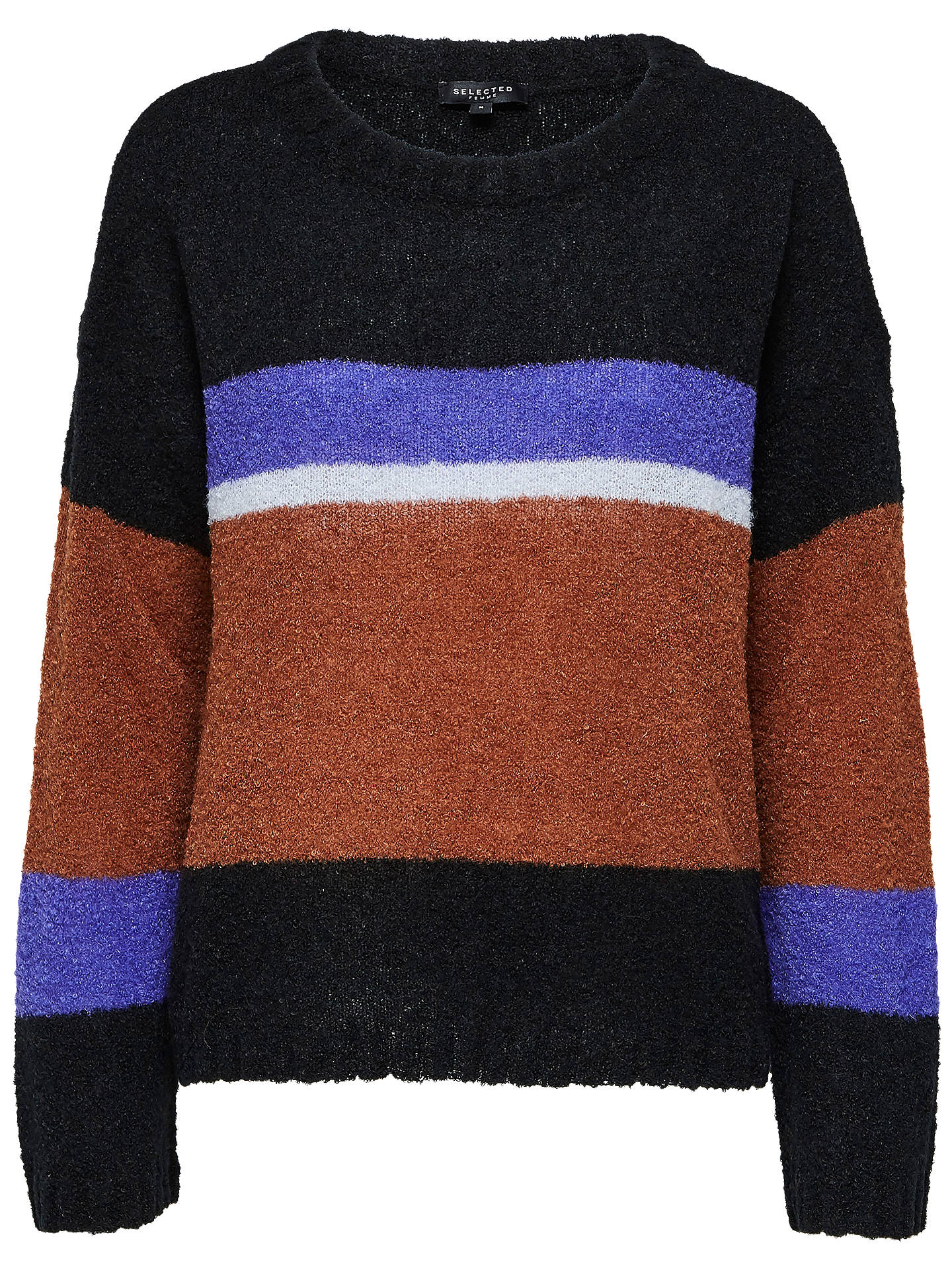 BuySelected Femme Maggie Block Stripe Jumper, Black/Multi, XS Online at johnlewis.com