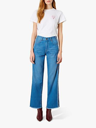 Iden Virginia Boyfriend Cotton Side Stripe Jeans, Mid Indigo