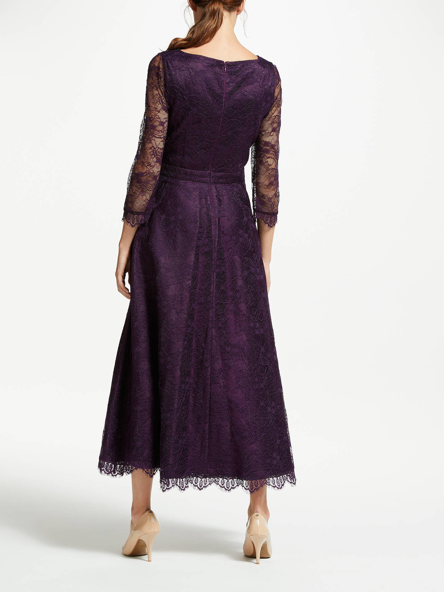 Buy Bruce by Bruce Oldfield Lace 3/4 Sleeve Dress, Wine Tasting, 8 Online at johnlewis.com