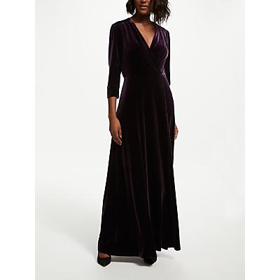 Bruce by Bruce Oldfield Velvet Wrap Maxi Dress, Wine Tasting