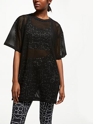 PATTERNITY + John Lewis Mesh Airtex Long T-Shirt, Black