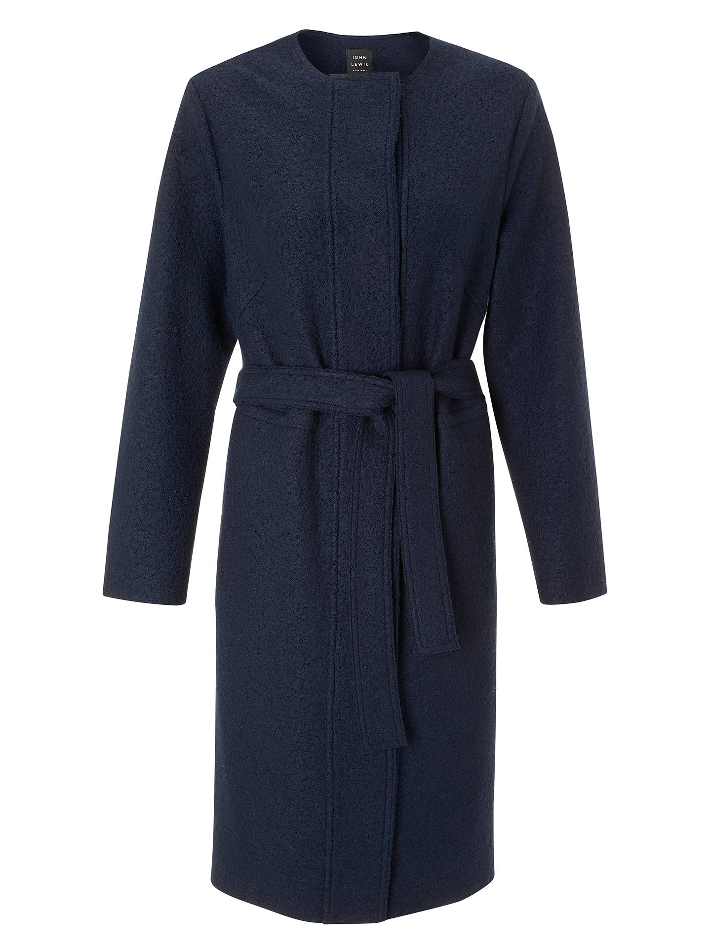 BuyJohn Lewis & Partners Wool Blend Coatigan, Navy, S Online at johnlewis.com