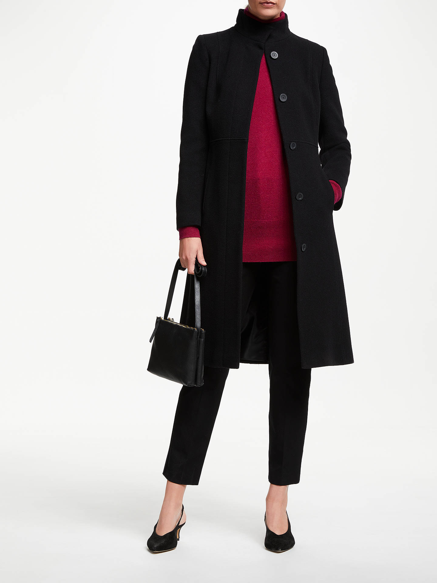 Buy John Lewis & Partners Fit and Flare Funnel Long Coat, Black, 8 Online at johnlewis.com