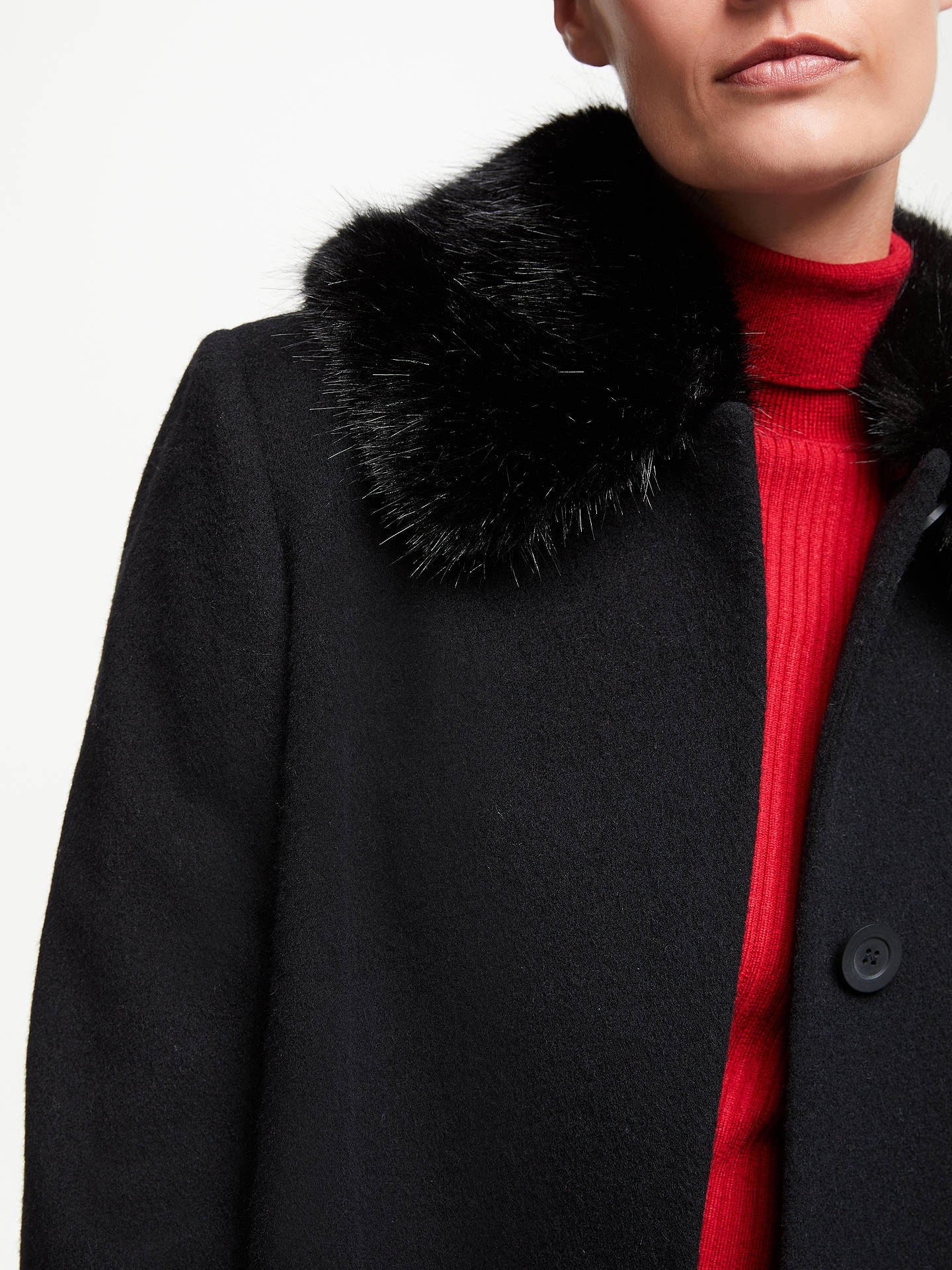 BuyJohn Lewis & Partners Detachable Fur Collar Coat, Black, 8 Online at johnlewis.com