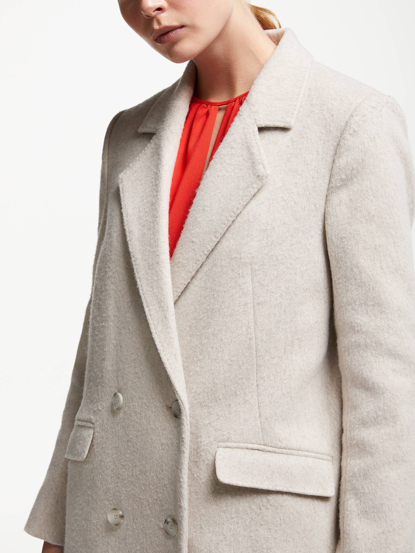 BuyJohn Lewis & Partners Double Breasted Coat, Oatmeal, 8 Online at johnlewis.com