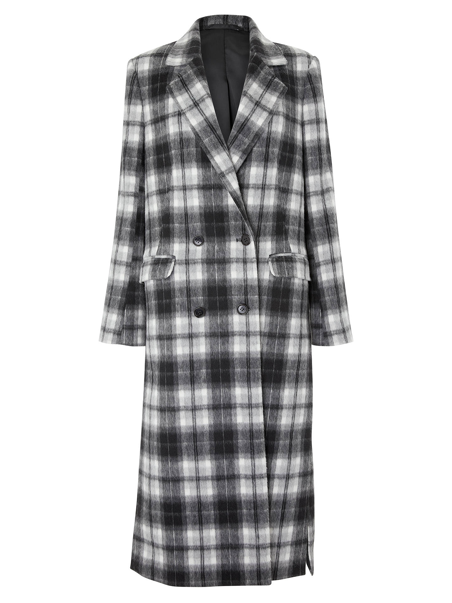 BuyJohn Lewis & Partners Double Breasted Coat, Grey Check, 8 Online at johnlewis.com