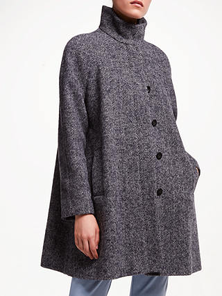Buy John Lewis & Partners Funnel Neck Swing Coat, Navy Texture, 18 Online at johnlewis.com