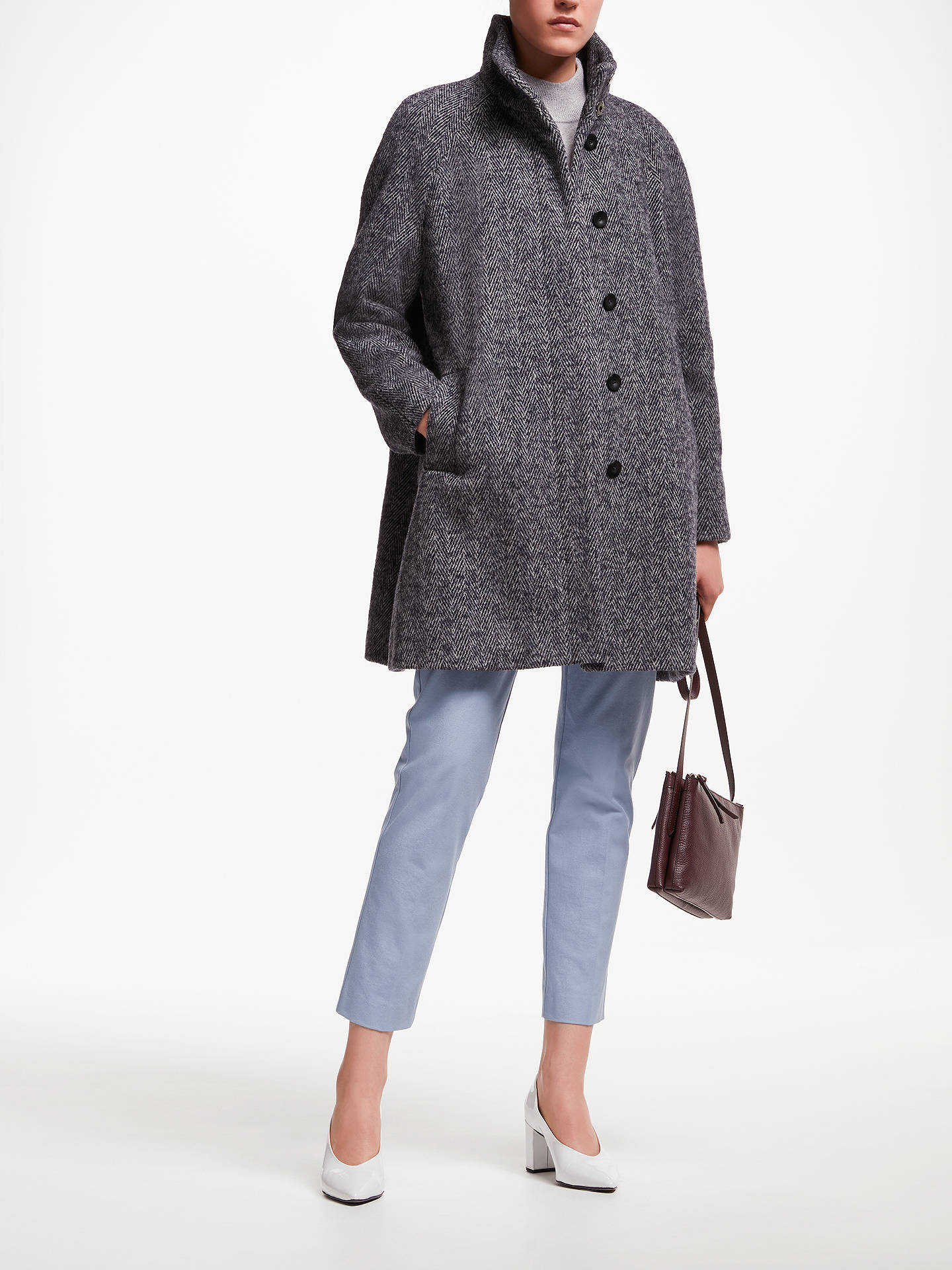 BuyJohn Lewis & Partners Funnel Neck Swing Coat, Navy Texture, 8 Online at johnlewis.com