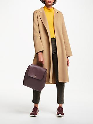 John Lewis & Partners Double Faced Belted Collar Coat, Camel
