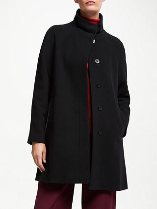 Buy John Lewis & Partners Funnel Neck Swing Coat, Black, 8 Online at johnlewis.com