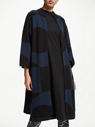 PATTERNITY + John Lewis Intarsia Long Cardigan, Navy/Black