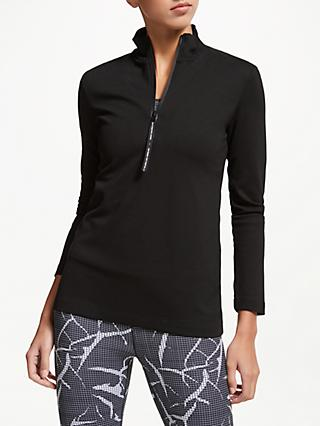 PATTERNITY + John Lewis Sport Long Sleeve Jersey Zip Up Jacket, Black