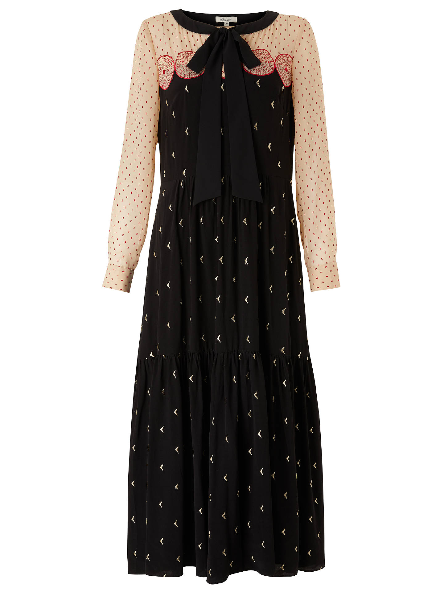 BuySomerset by Alice Temperley Embroidered Long Sleeve Maxi Dress, Black, 8 Online at johnlewis.com
