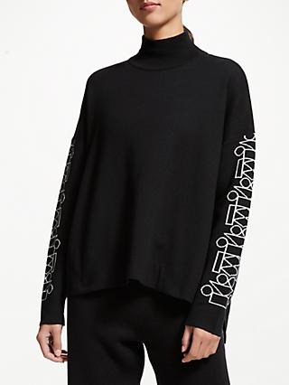 PATTERNITY + John Lewis Signature Sleeve Side Print Roll Neck Jumper, Black/White