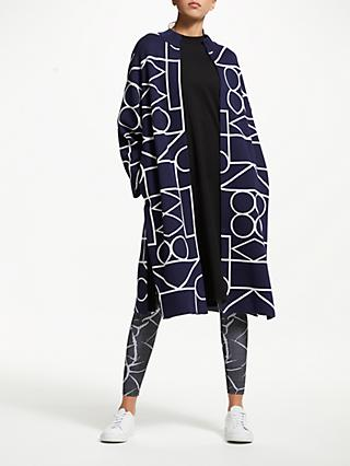 PATTERNITY + John Lewis Outline Signature Long Cardigan, Navy/White
