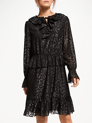 Somerset by Alice Temperley Frill Metallic Detail Dress, Black/Silver