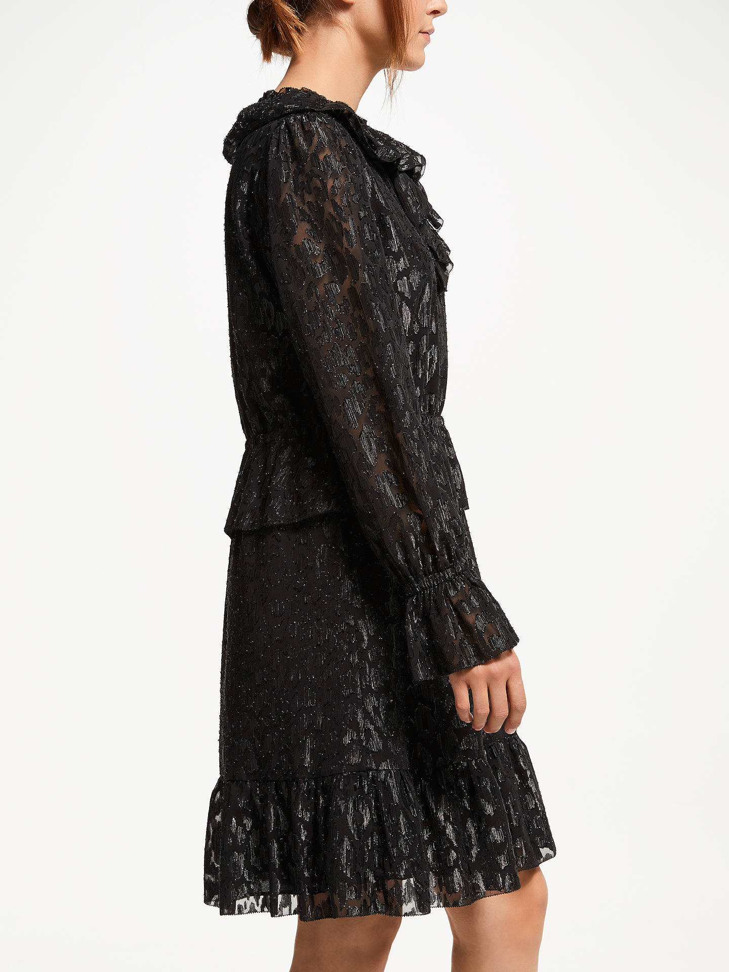 Buy Somerset by Alice Temperley Frill Metallic Detail Dress, Black/Silver, 8 Online at johnlewis.com