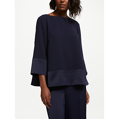 Bruce by Bruce Oldfield Satin Back Crepe Top, Dark Sapphire
