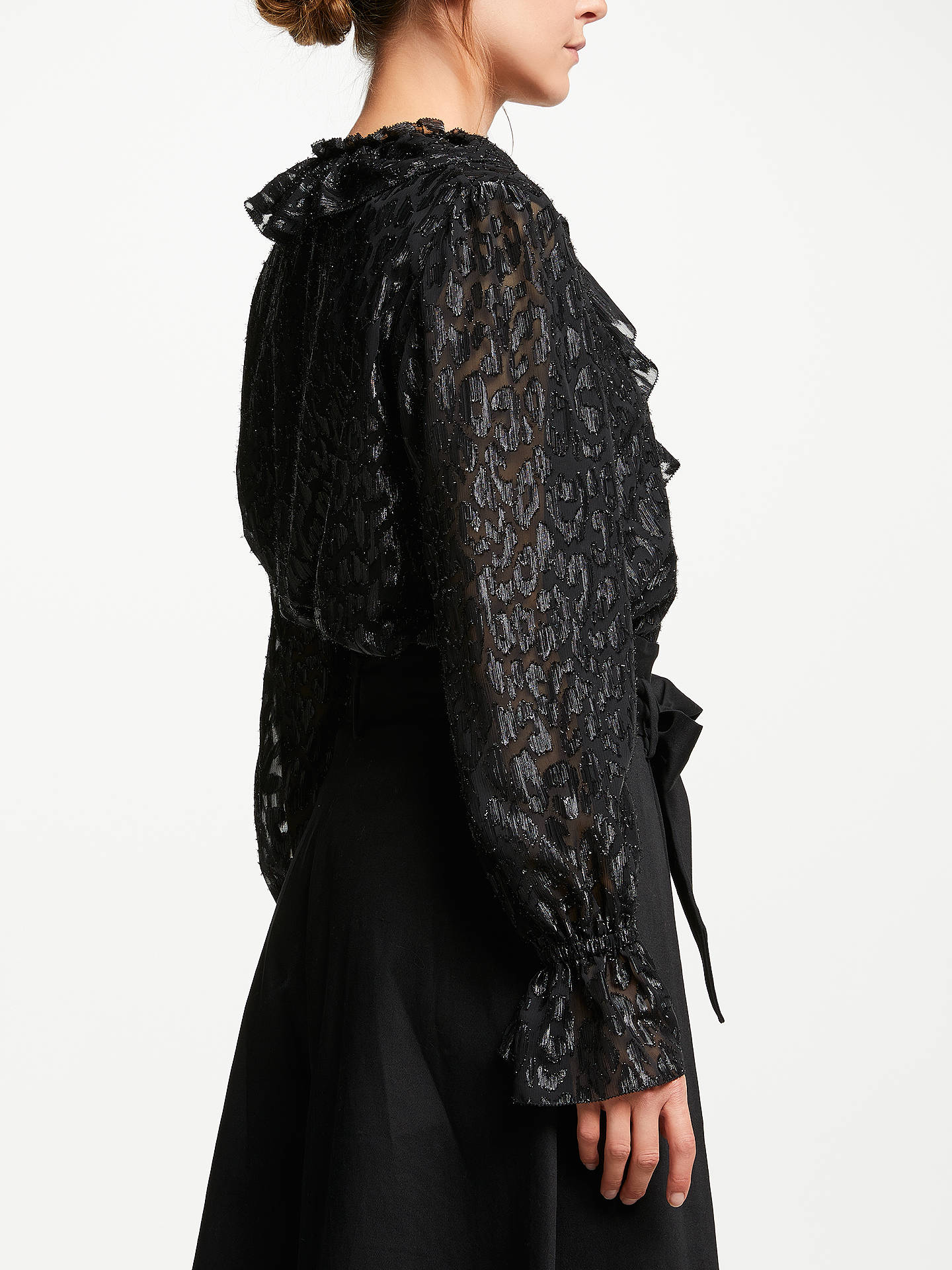 BuySomerset by Alice Temperley Frill Metallic Detail Blouse, Black, 8 Online at johnlewis.com