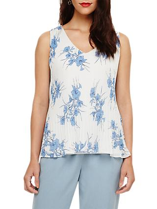 Phase Eight Luana Floral Print Top, Grey/Blue