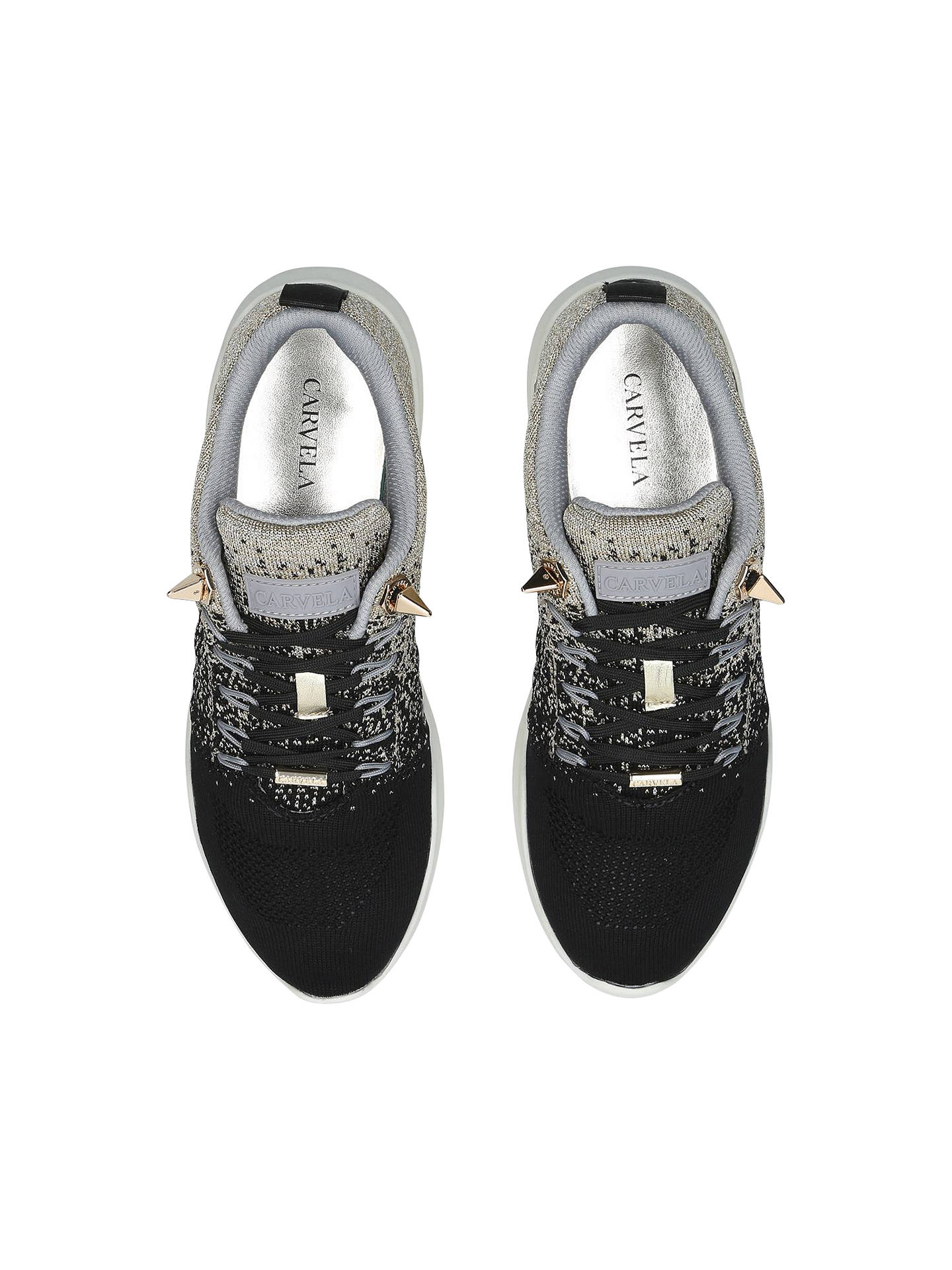 Buy Carvela Lolita Lace Up Trainers, Black/Grey, 3 Online at johnlewis.com