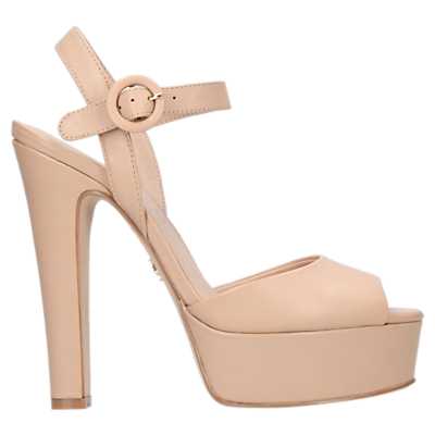 Kurt Geiger Molton Block Heeled Platform Sandals, Nude Leather