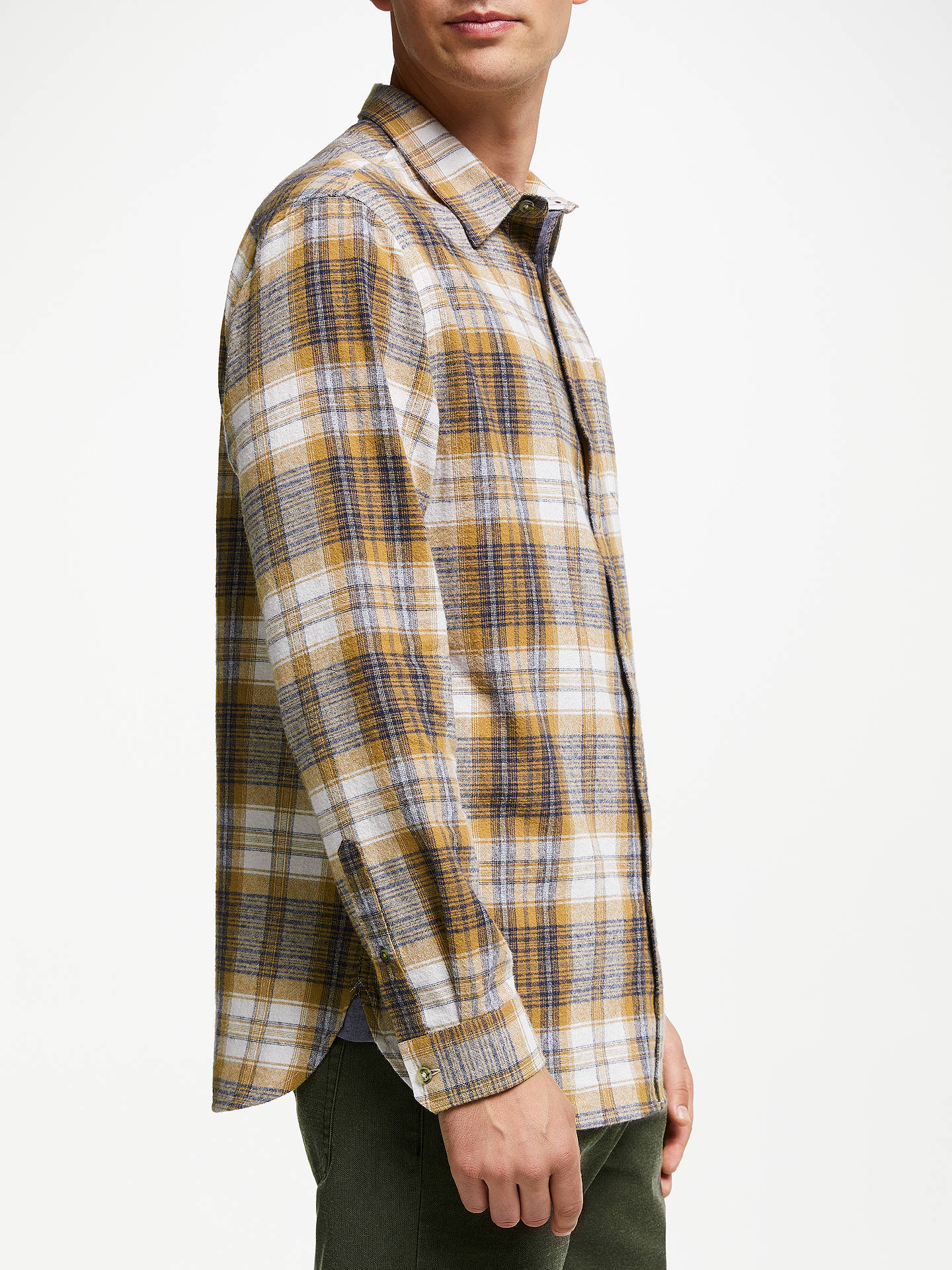 BuyJohn Lewis & Partners Eddie Brushed Check Shirt, Brown, S Online at johnlewis.com