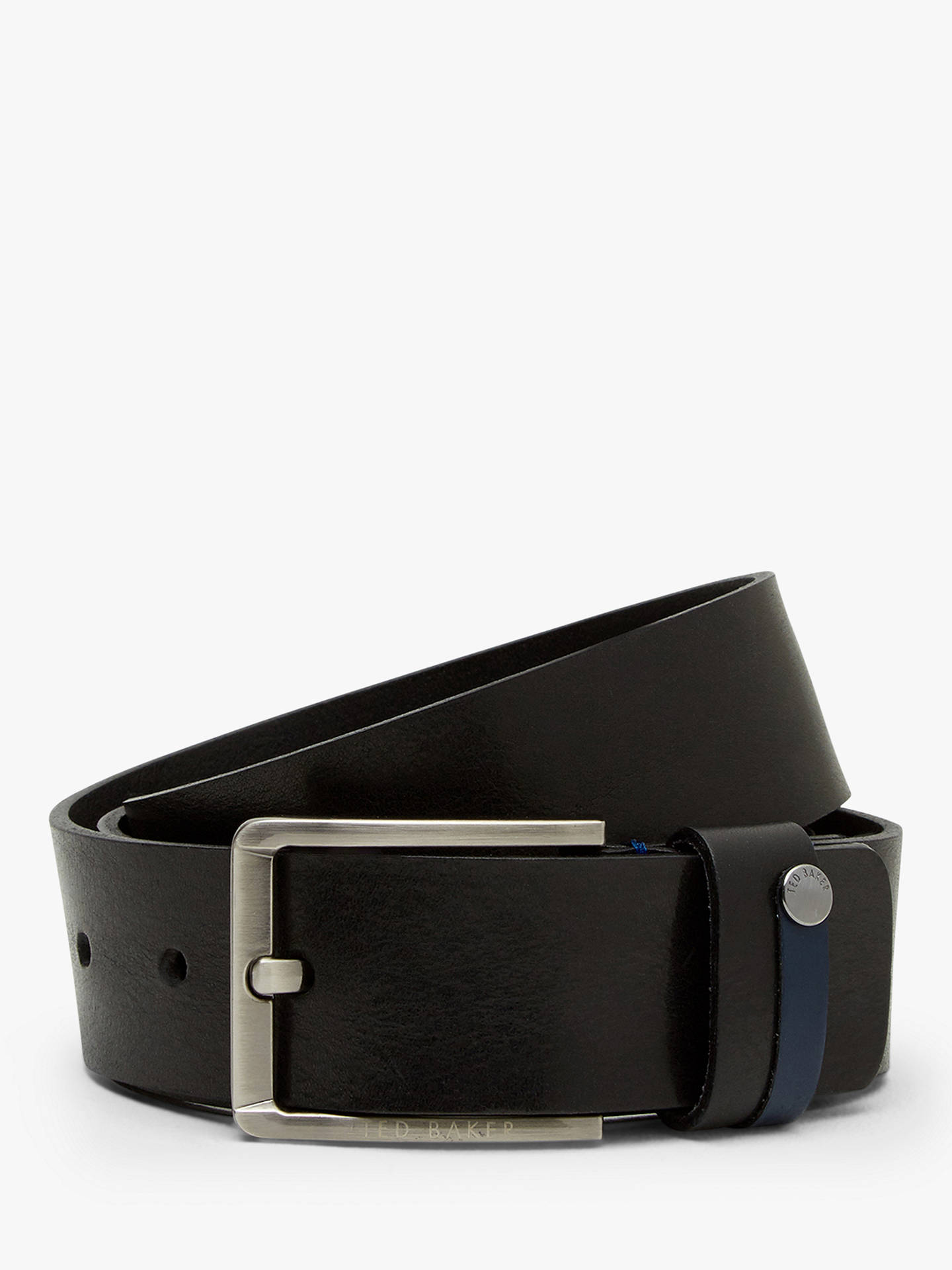 Buy Ted Baker Keepsak Contrast Detail Leather Belt, Black, S Online at johnlewis.com