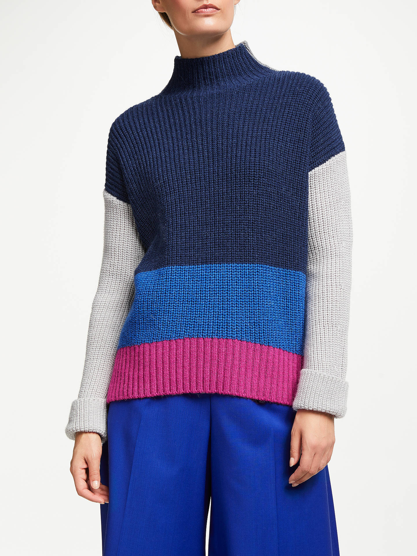 Buy John Lewis & Partners Block Colour Turtle Neck Sweater, Blue/Grey/Pink, XS Online at johnlewis.com