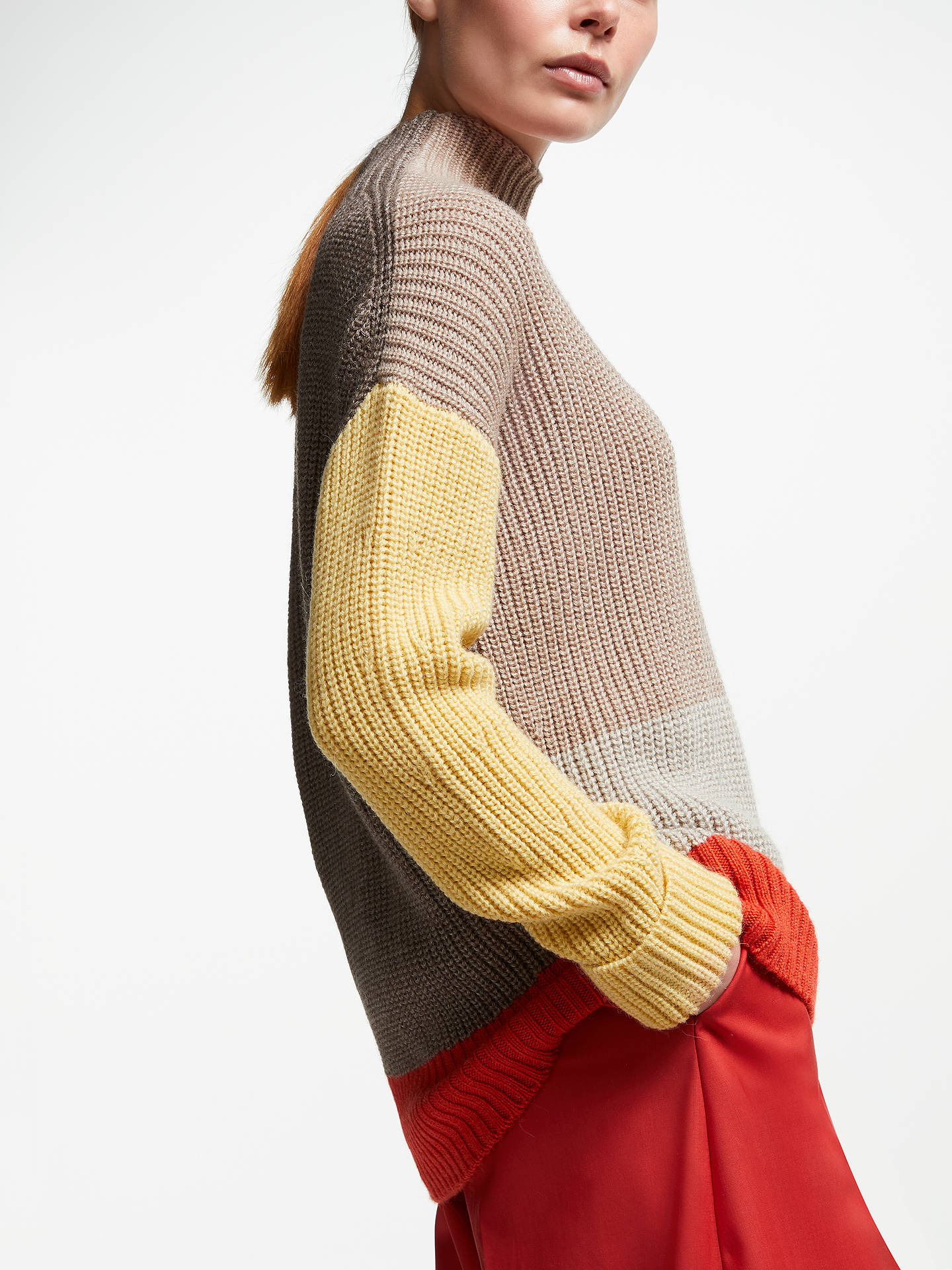 BuyJohn Lewis & Partners Block Colour Turtle Neck Sweater, Neutral/Mustard/Orange, XS Online at johnlewis.com