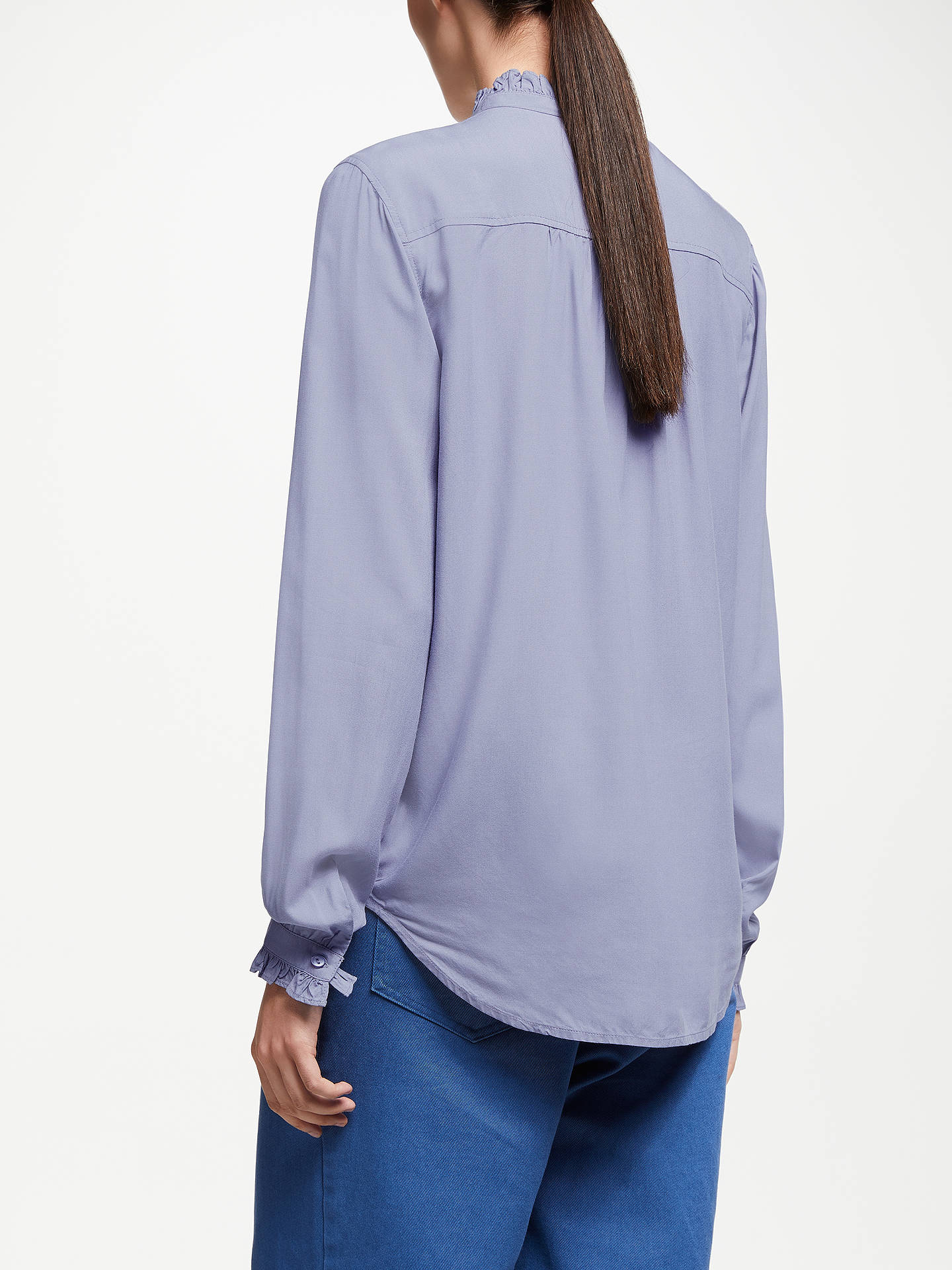 Buy John Lewis & Partners Frill Neck Blouse, Washed Blue, 8 Online at johnlewis.com