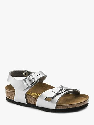 Birkenstock Children's Rio Metallic Buckle Sandals, Silver