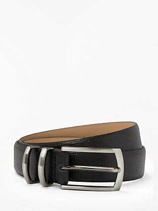 John Lewis & Partners Textured Leather Looper Belt, Black