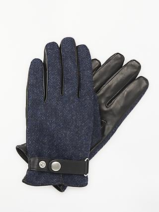 John Lewis & Partners Herringbone Wool Leather Palm Gloves