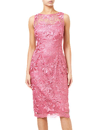 Buy Adrianna Papell Guipure Lace Overlay Midi Dress, Misty Rose, 8 Online at johnlewis.com