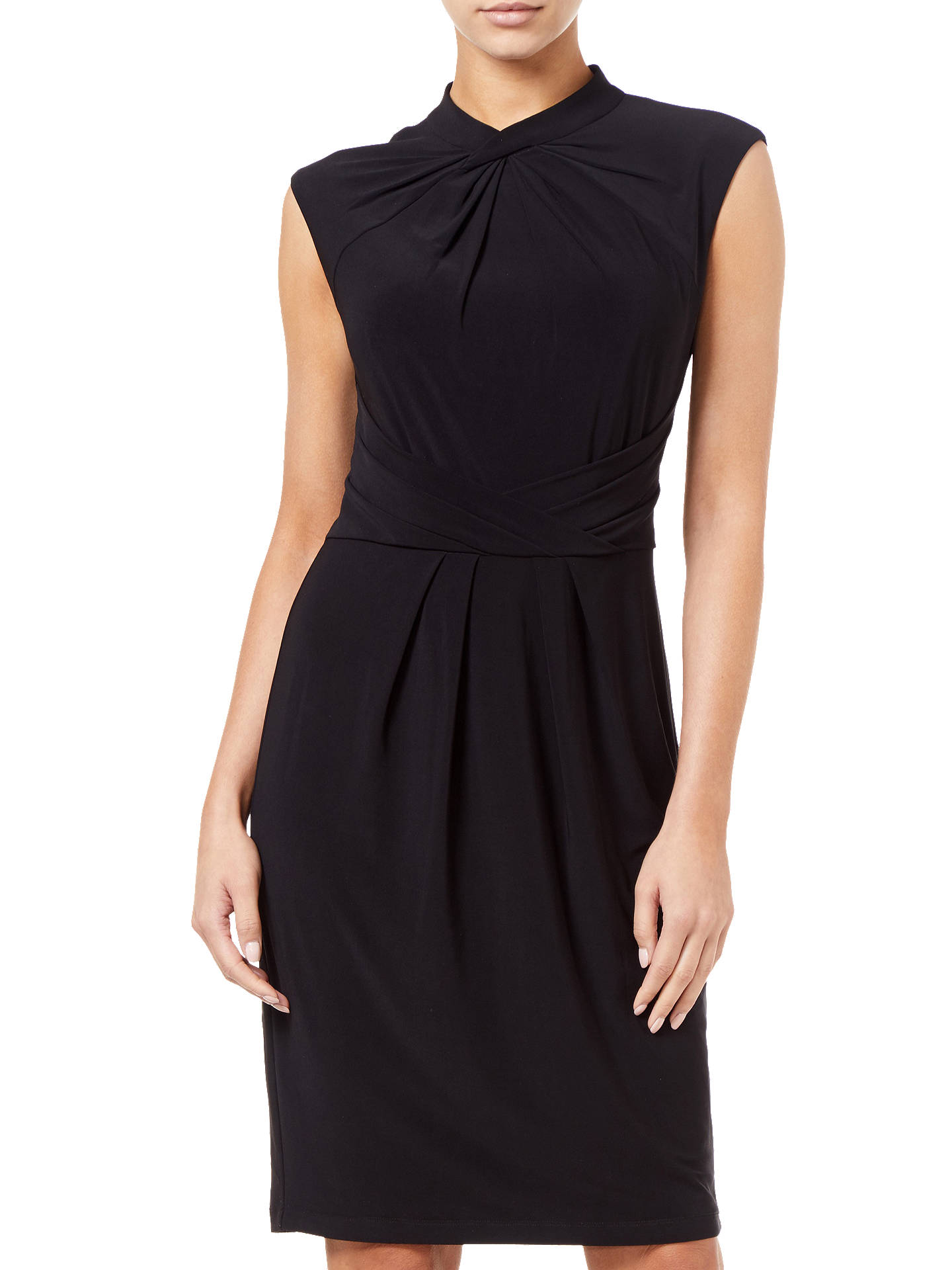 Buy Adrianna Papell Matte Jersey Gather Detail Sheath Dress, Black, 6 Online at johnlewis.com