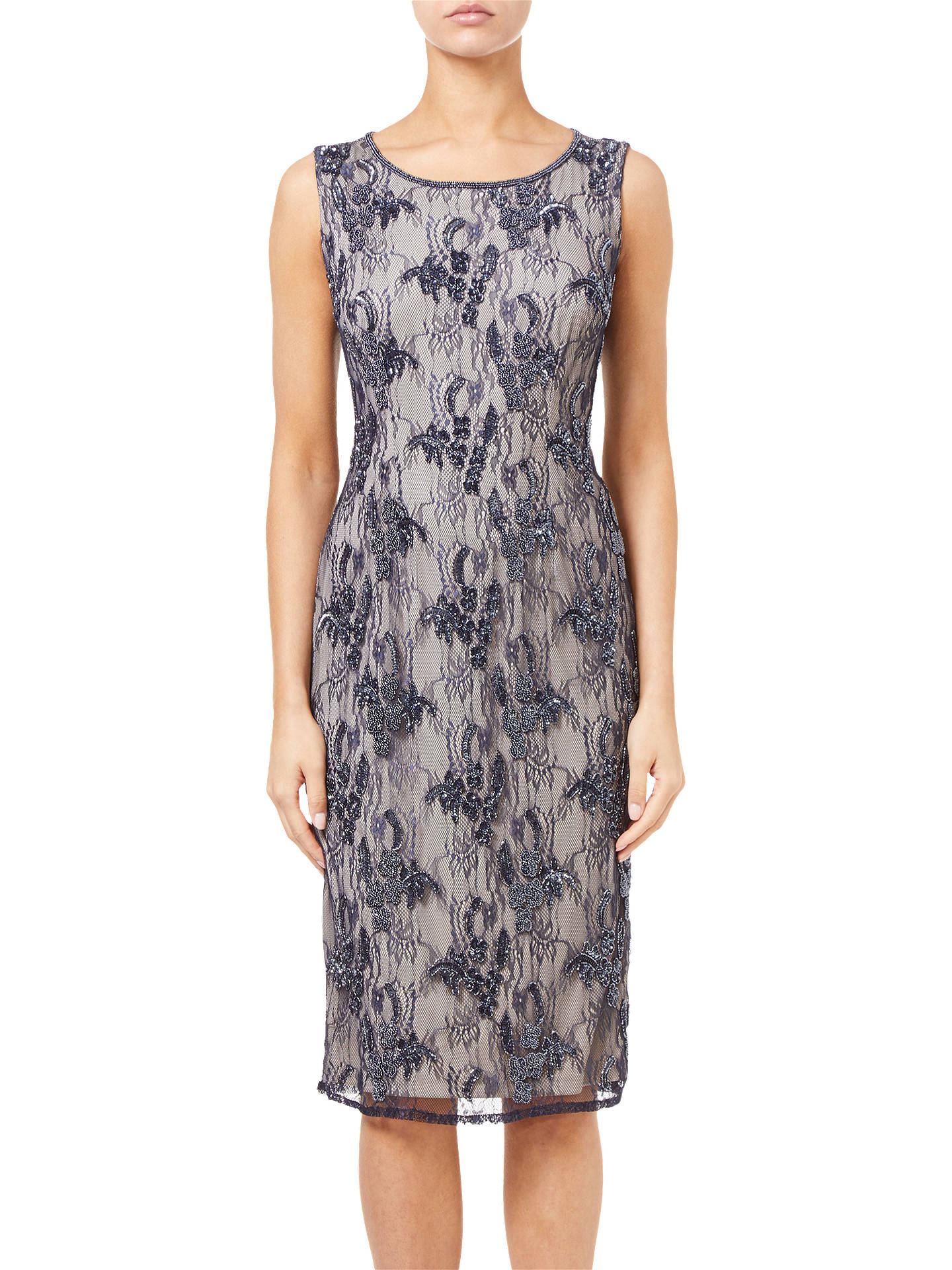 BuyAdrianna Papell Beaded Lace Midi Dress, Midnight/Silver, 8 Online at johnlewis.com