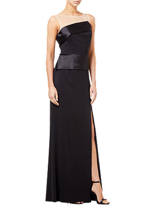 Buy Adrianna Papell Lola Long Dress, Black, 12 Online at johnlewis.com