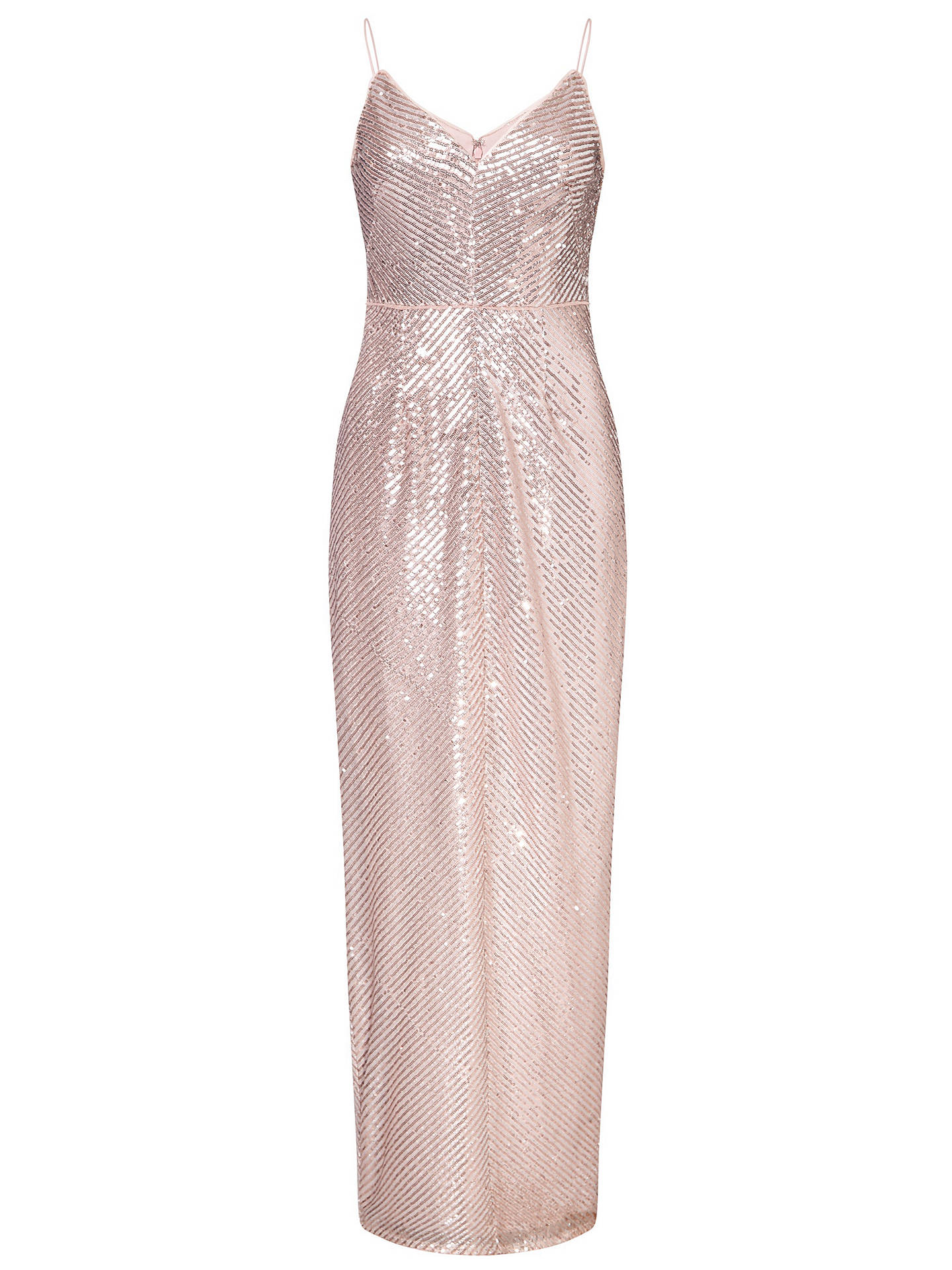 Buy Adrianna Papell Stripe Sequin Gown, Rose Gold, 18 Online at johnlewis.com