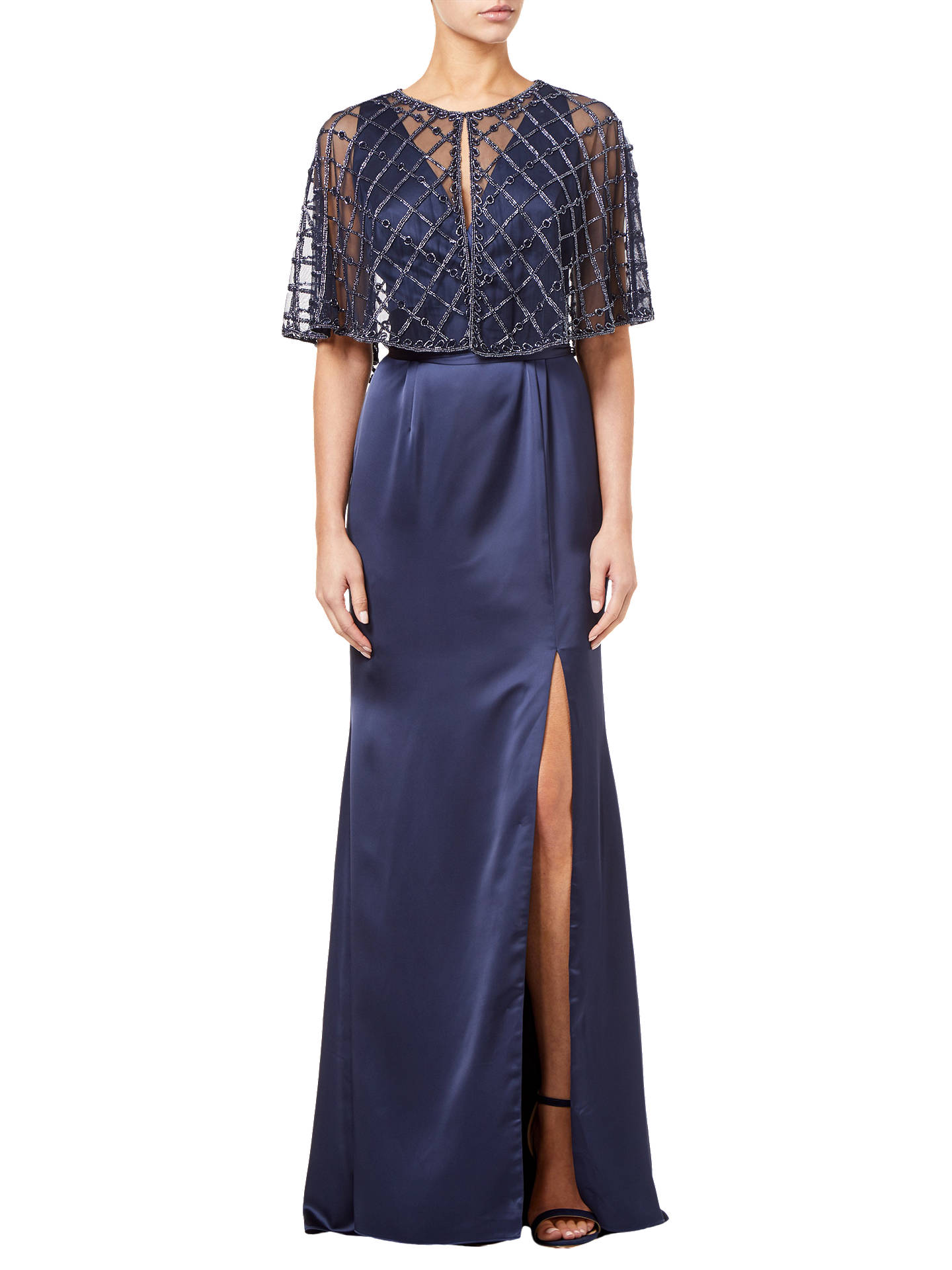 Buy Adrianna Papell Beaded Mesh Cover Up, Midnight, XL Online at johnlewis.com