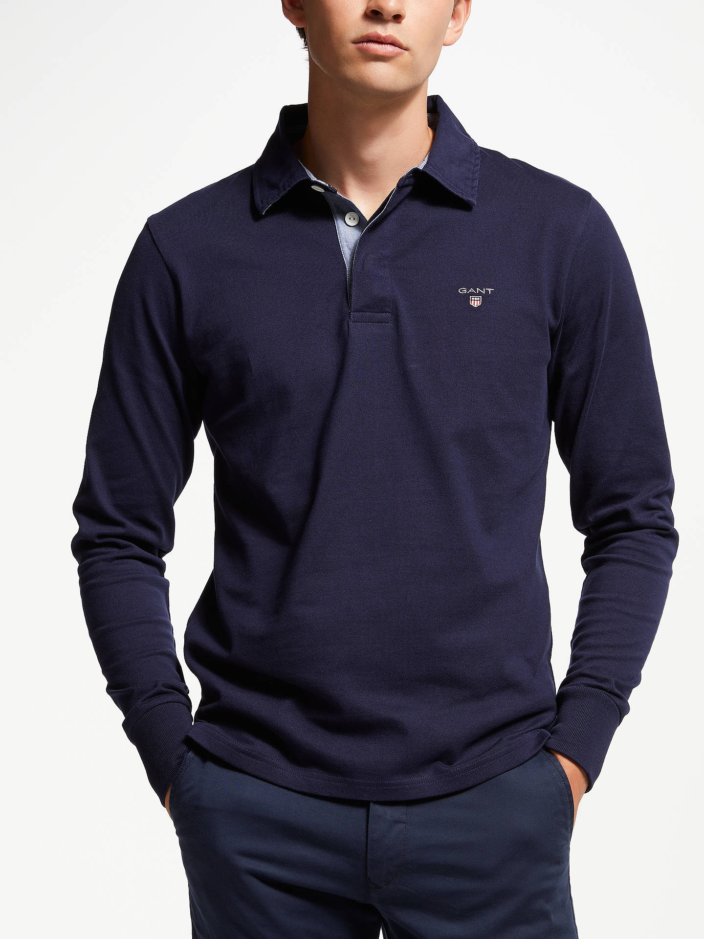abd66e6a082 Buy GANT Rugger Long Sleeve Rugby Shirt, Navy, S Online at johnlewis.com ...