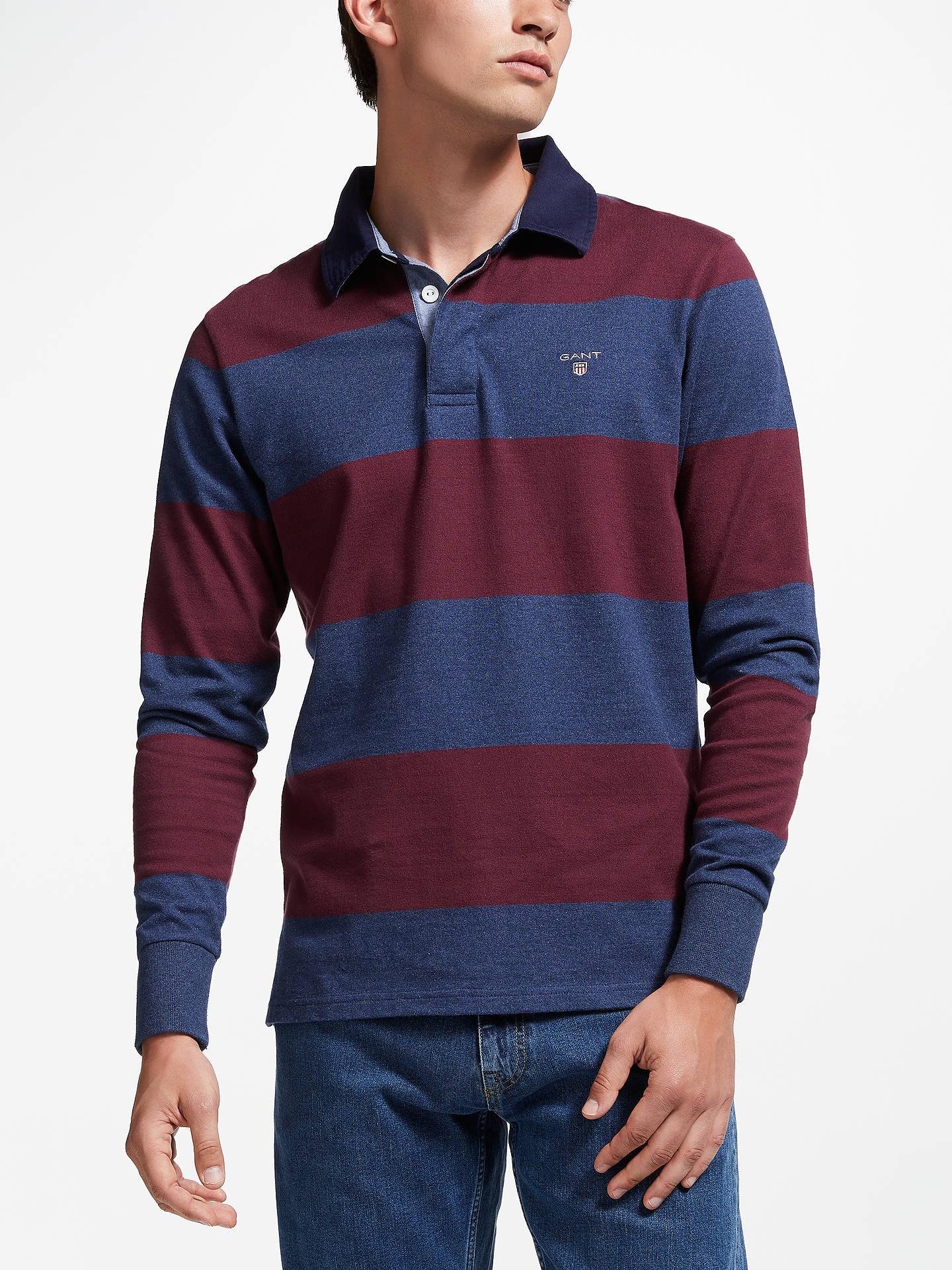216b1f0141 Buy GANT Rugger Long Sleeve Stripe Rugby Shirt, Red, M Online at johnlewis.