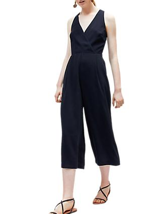 Warehouse V-Neck Jumpsuit, Navy