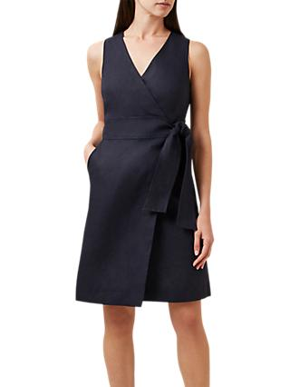 Hobbs Annette Linen Wrap Dress, Navy