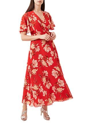 Hobbs Ottilie Floral Print Dress, Red