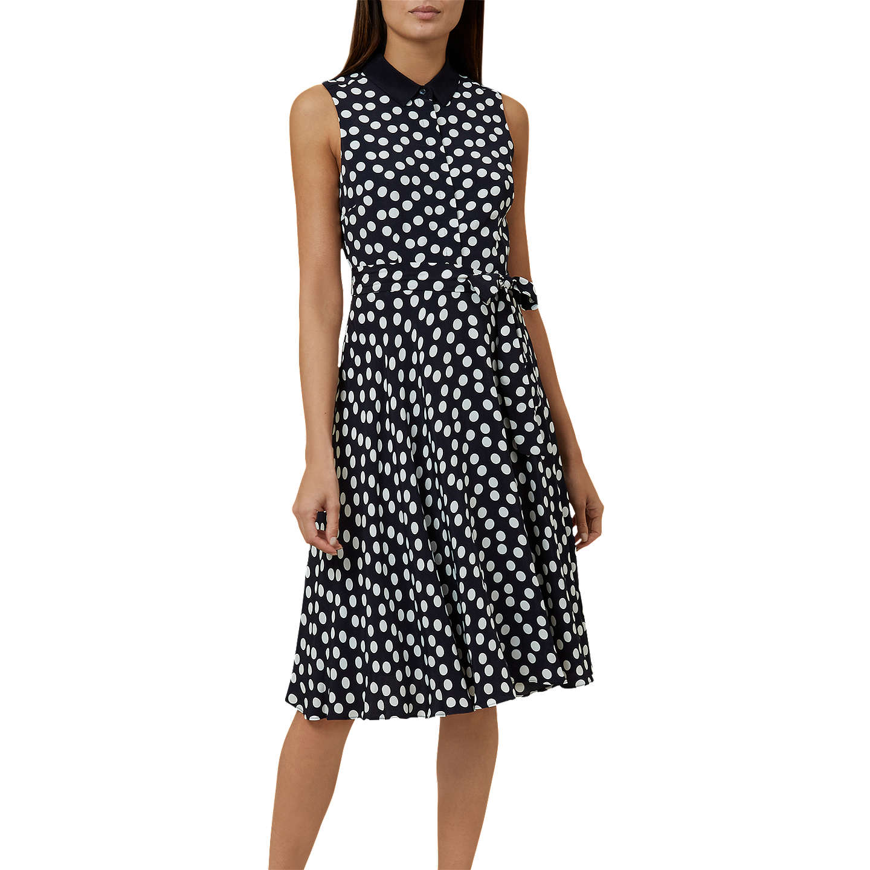Hobbs Belinda Spot Dress, Navy/Ivory by Hobbs