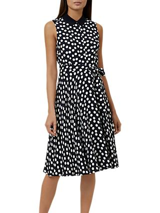 Hobbs Belinda Spot Dress, Navy/Ivory