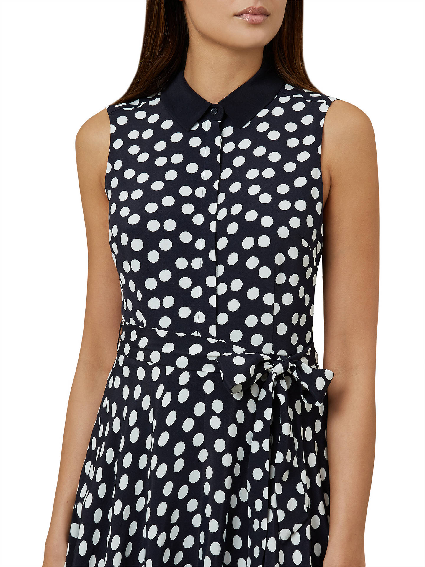 BuyHobbs Belinda Spot Dress, Navy/Ivory, 10 Online at johnlewis.com